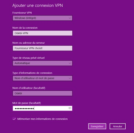 Configurer un VPN sous windows 10