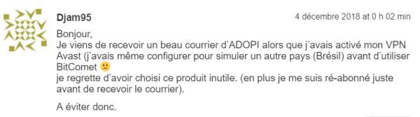 Avis consommateurs VPN d'Avast