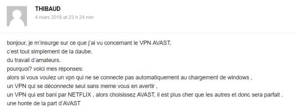 Retour client Avast VPN